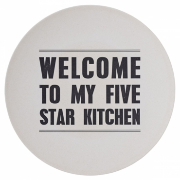 Plat rond en bambou Welcome To My Five Star...