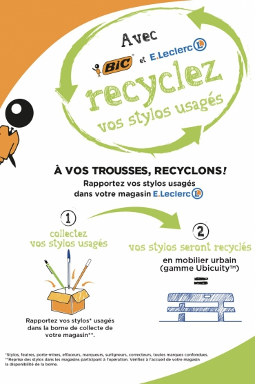 bic et leclerc recyclent vos stylos usag s en mobilier urbain bioaddict. Black Bedroom Furniture Sets. Home Design Ideas