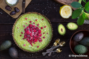 Recette bio : Tarte bio avocat citron framboise (raw healthy food)